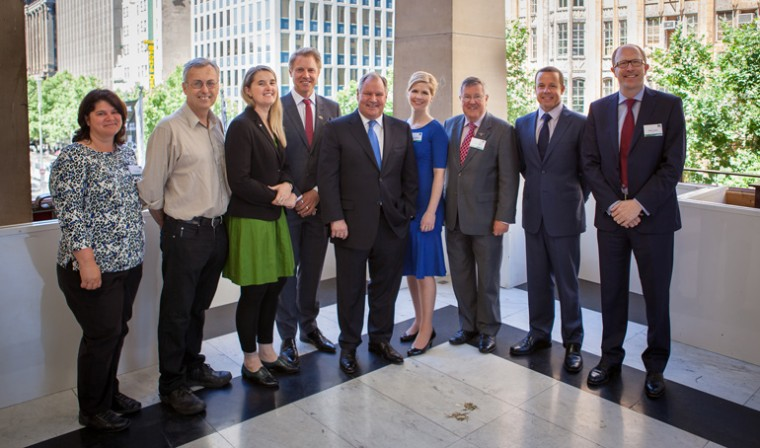 Partners launching the project at Melbourne Town Hall: (L-R) Grace Girardi, City of Maribyrnong;  Sam Gaylard, City of Yarra; Cathy Oke, City of Melbourne;  Arron Wood, City of Melbourne; Lord Mayor Robert Doyle; Sharon Pollard, Fed Square; Peter Taylor, bankmecu; Ben Hindmarsh, Mirvac; and Simon Cooper, NEXTDC. Photo: Andrew Bott.