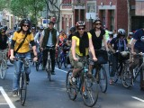 Cyclists riding for climate action