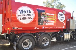 A Hawesbury Council garbage truck with a mesage