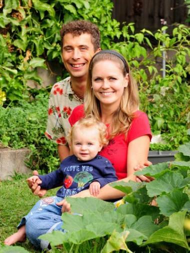 Roman, Jana and Lada Spur in their garden