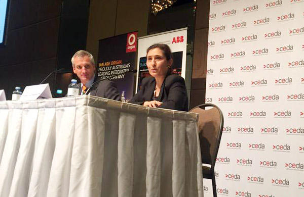 Lily D'Ambrosio speaking at the CEDA event.