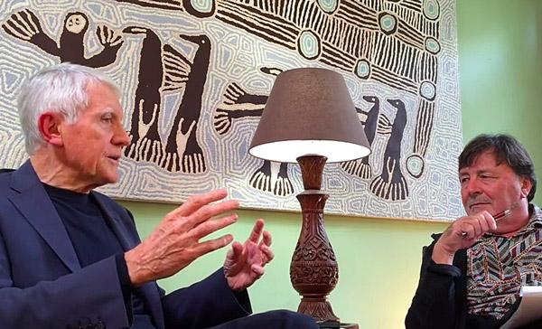 David Kirby (left) and Gavin Gatenby discuss radial freeways.