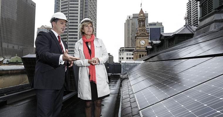 Connie Hedegaard at Sydney Town Hall with City sustainability director Chris Derksema.