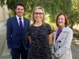 Dr Vanessa Rauland (centre) with the Greens' Scott Ludlam and Rachel Siewert.
