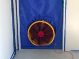 A building tightness test under way (blower door)