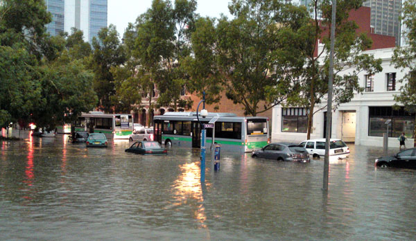 Floods following a storm in Perth