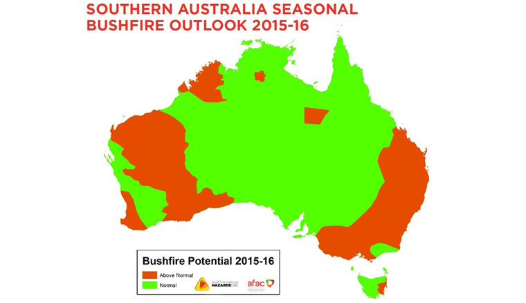 Bushfire and Natural Hazard CRC has produced this map indicating the regions in which bushfire potential is normal and above normal. Bushfire and Natural Hazard CRC