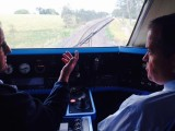 Opposition Leader Bill Shorten chats to a Queensland XPT driver.