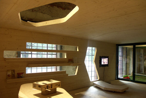 Naked House, a flat-packed prefabricated engineered timber building.