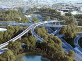 Artist's impression of the proposed WestConnex interchange at St Peters.
