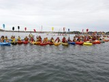 A flotilla of kayaks blocks Newcastle Port
