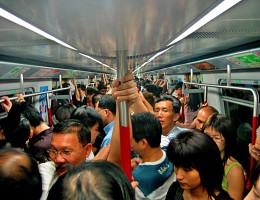 Rush hour on the MTR in Hong Kong