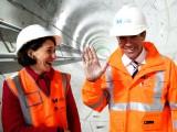 NSW Treasurer Gladys Berejiklian and Premier Mike Baird at a Sydney Metro tunnel.