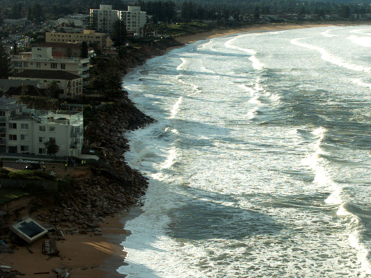 Recent storm surge at Narabeen, Sydney, which affected beach-front propoerties. Image: UNSW Water Research Laboratory