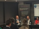 Justin Long of TCV, left, with fellow panellists Rob White of NAB and Katharine Tapley of ANZ.