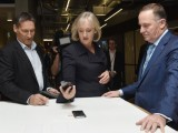 (L-R): Vodafone CEO Russell Stanners, NZ Communications Minister Amy Adams and NZ Prime Minister John Key.