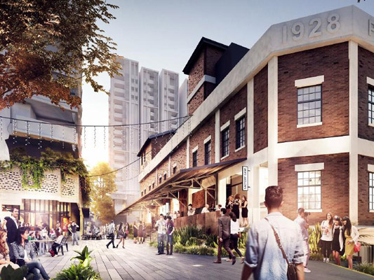 Artist's impression of the West Village's Factory Lane