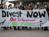 A divestment protest at Tufts University in the US.