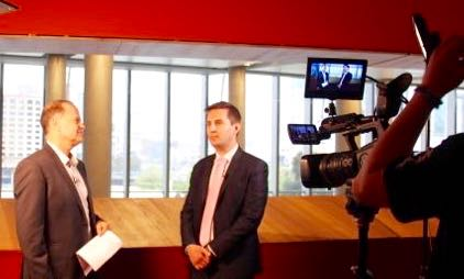 Craig Chambers, left with Jon Jutsen prepare for video interview at AllEnergy2016