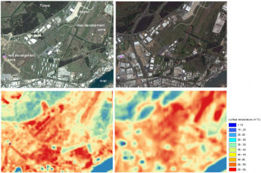 Picture 1 Landsat 7 thermal image 30 October 2002 (11:03 AM local time, left down) and Google Earth image October 2002 (left up) Landsat 8 thermal image 8 November 2014 (11:09 AM local time, right down) and Google Earth image November 2014 (left down) Building with a roof made from COLORBOND® Coolmax® steel (highlighted with purple dot point) before (left up/down) and after the construction (right up/down)