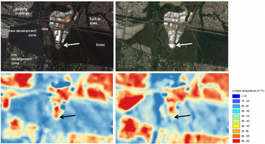 Picture 2 Landsat 8 thermal image 27 February 2013 (11:12 AM local time, left down) and Google Earth image February 2013 (left up) Landsat 8 thermal image 8 November 2014 (11:09 AM local time, right down) and Google Earth image November 2014 (right up) Building with a roof made from COLORBOND® Coolmax® steel (highlighted with dot point and arrow) before (left up/down) and after the construction (right up/down)