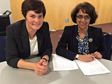 Dame Ellen MacArthur (left) with Dr Siva Kumari at the signing of an educational partnership with the International Baccalaureate.