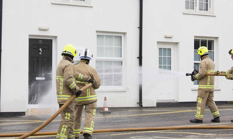 At the launch of the house, filmed by the BBC, officers from the fire brigade sprayed water at the house to test its resilience.