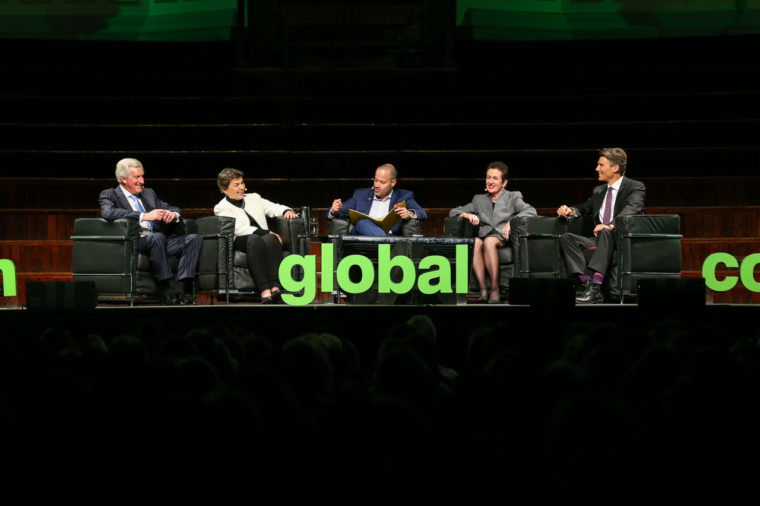 Caption: (L-R) John Hewson, Christiana Figueres, Adam Spencer, Clover Moore and Gregor Robertson. Image: City of Sydney/Katherine Griffiths