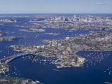 Sydney parramatta river and the Gladesville bridge aerial city