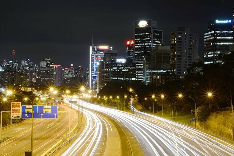 north Sydney night time roads