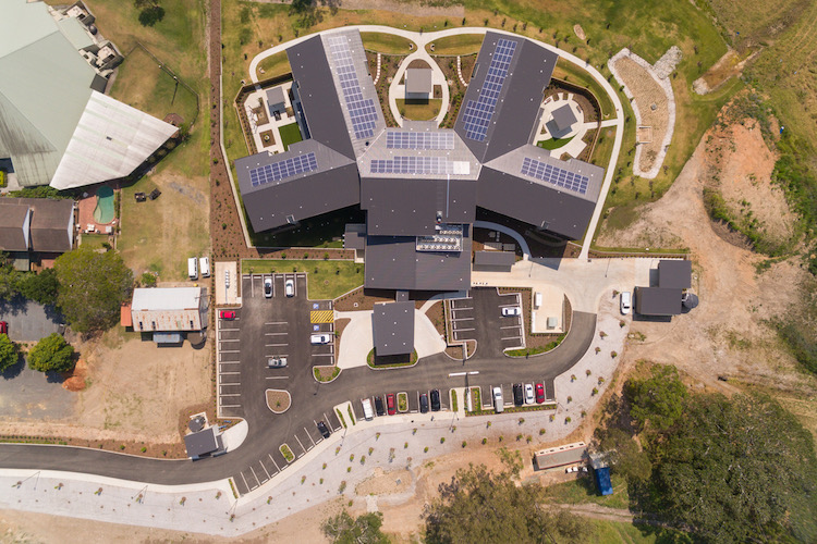 solar panels on Carinity Mudgeeraba roof