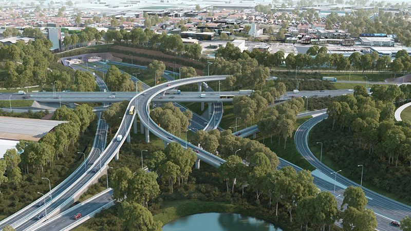 Artist's impression of the proposed St Peters interchange.