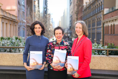Lauren Sorkin, Regional Director Asia Pacific 100RC, Lord Mayor Clover Moore and Beck Dawson Chief Resilience officer of City of Sydney