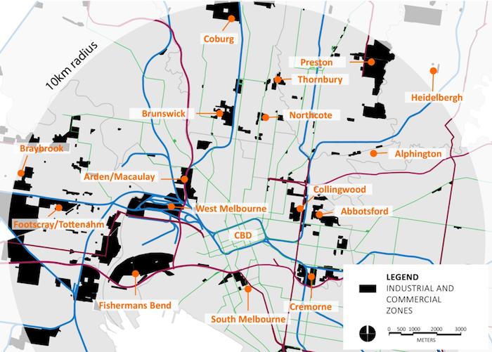 employment zones inner Melbourne map