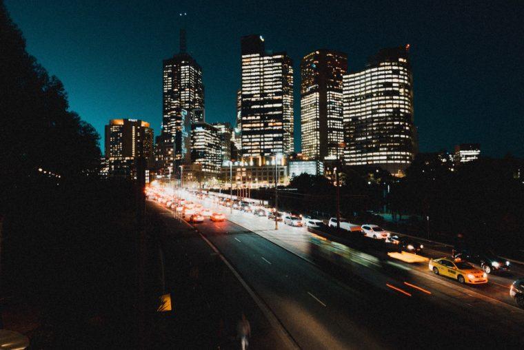Melbourne city traffic night congestion