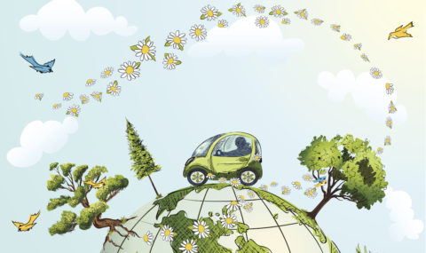 Car Driving Over Globe with Trees, Flowers and Birds