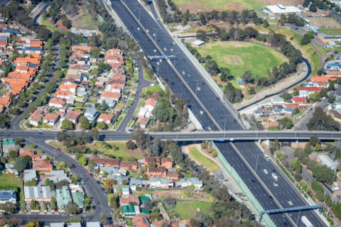 Aerial view of Melbourne main interstate road and overpass