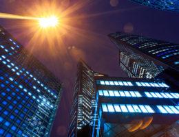 Illuminated office buildings Night lights