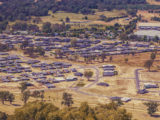 Panoramic landscape of suburban houses in rural neighbourhood in Australia