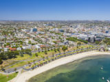 Aerial photo of city centre of Geelong in Victoria, Australia