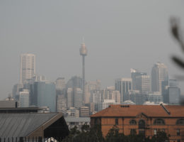 sydney skyline in smoke