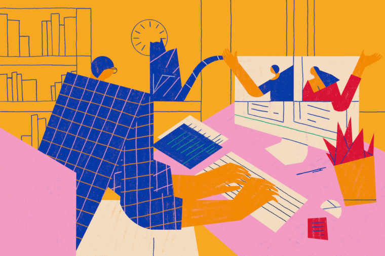 Working from home or remotely using modern technology. Teleworking or telecommuting conceptual illustration