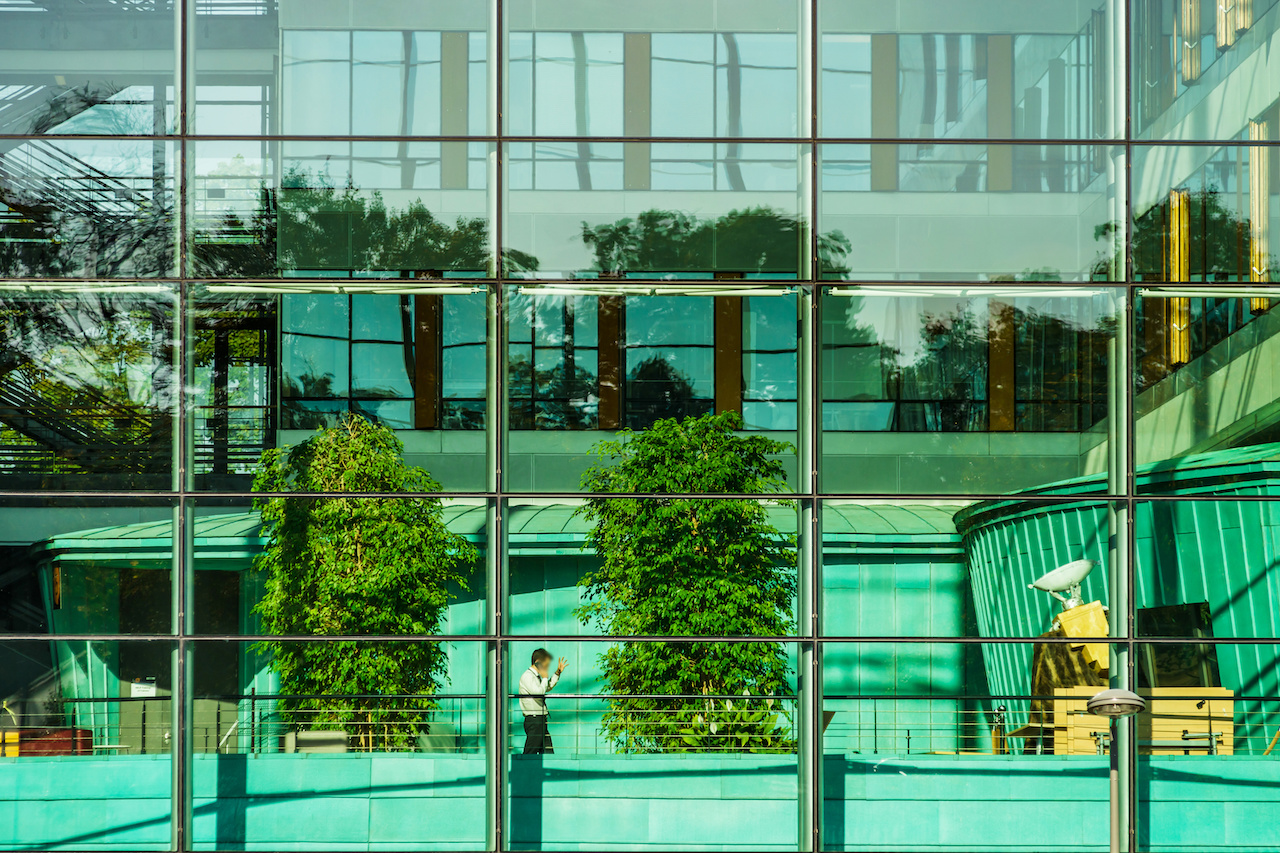 Comfortable office building view through the glass wall, Strasbourg