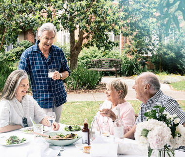 older people at lunch gathering