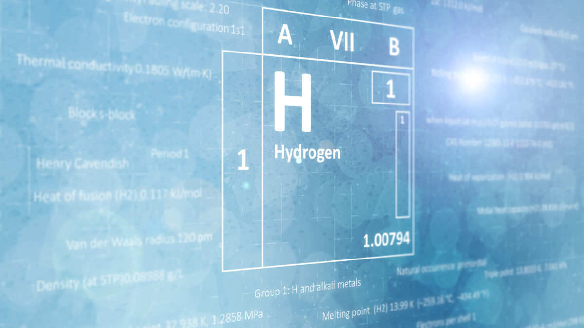 Elemental hydrogen concept from the periodic table of chemical elements. Light blue background.