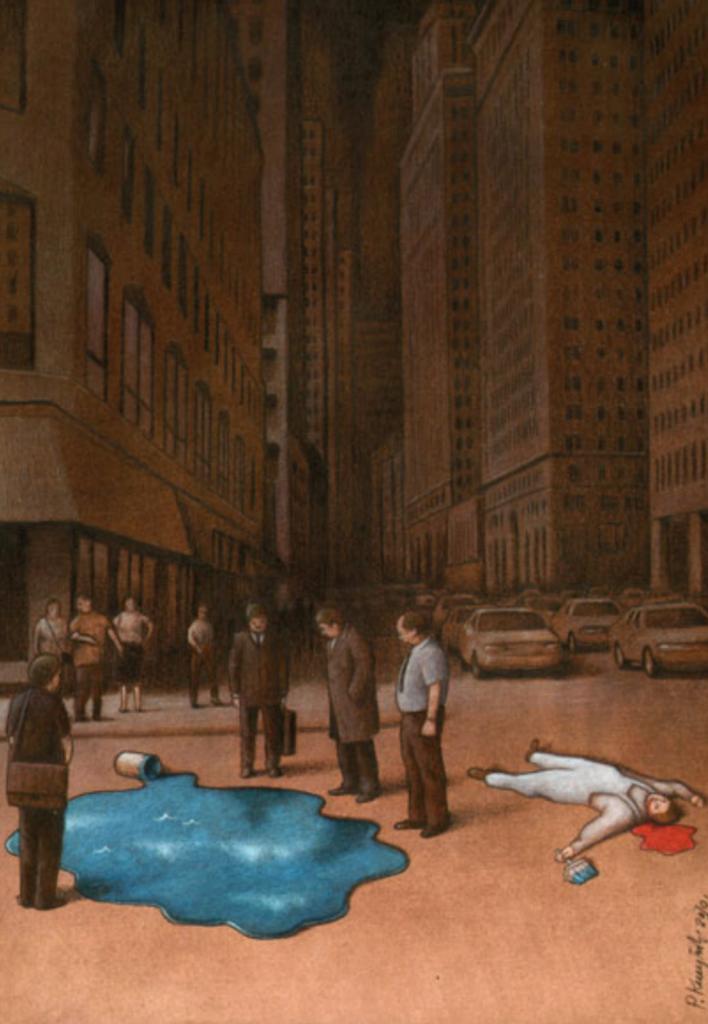 artwork of men standing around spilt blue paint