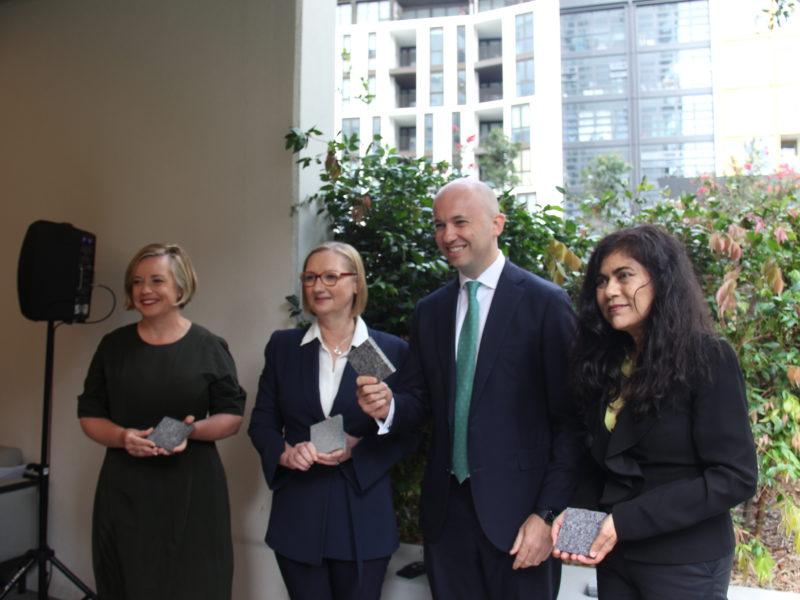 Linda Scott, City of Sydney; Susan Lloyd-Hurwitz, Mirvac; Minister Matt kean; Professor Veena Sahajwalla